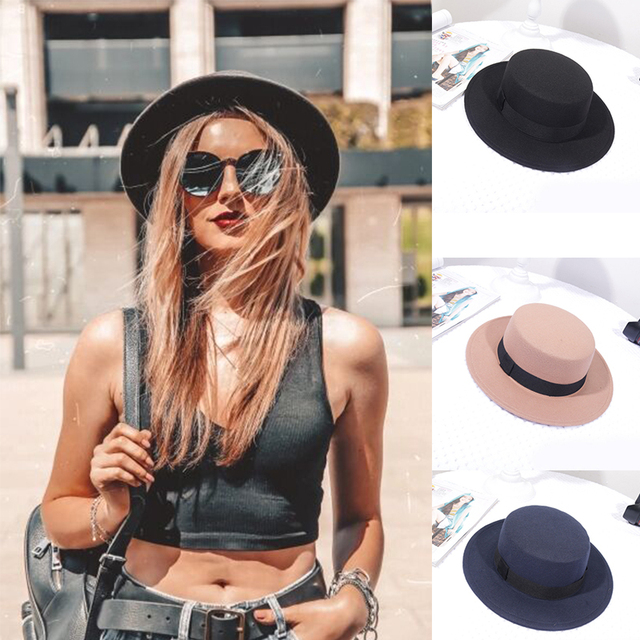 Spring Autumn Woolen Women Hat Classic Solid Color Felt Fedoras Hats Female Lady Wide Brim Flat Top Jazz Cap 2