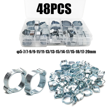 48PCS Zinc Plated Double Ear Hose Clamp 8Sizes 5-7/7-9/9-11/11-13/13-15/14-17/15-18/17-20mm  bolts and nuts  home improvement 1