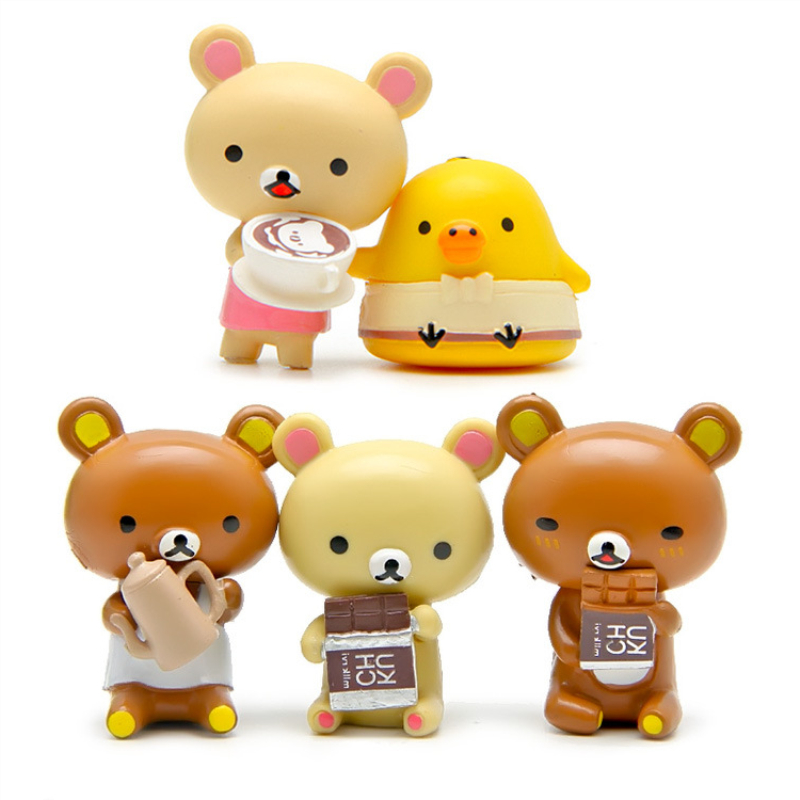5pcs Rilakkumas Cafe Full Face Figure Authentic San-X Japan Relax Bear Stuffed Toys Stuffed Animal Dolls Christmas Gifts