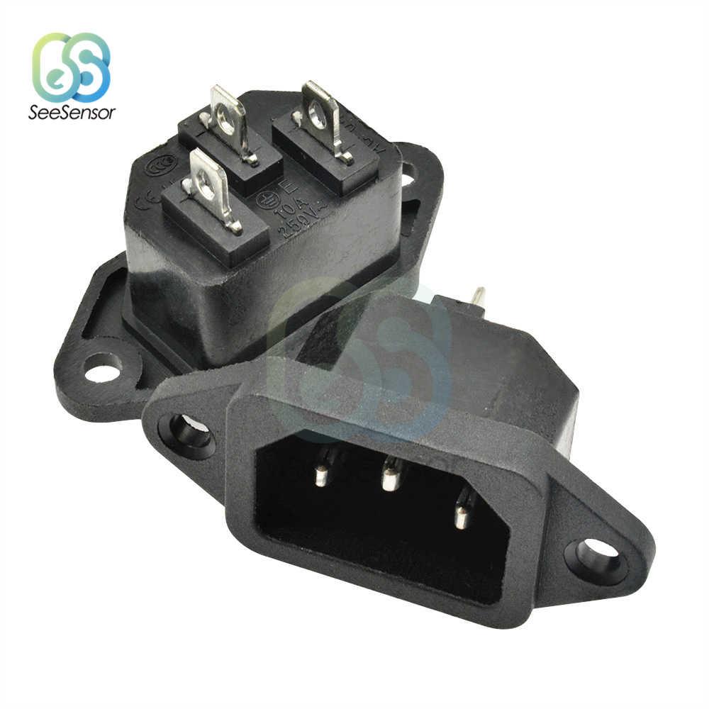 5 шт. 10A 250VAC 3 Pin AC-04 AC Мощность вилка и гнездо розетки с железным сердечником