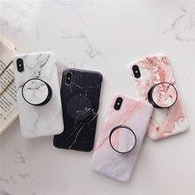 Beyour marmer flexibele standhouder caso para iphone11pro x xs max x 8 7 6 s plus zachte imd telefone capa caso série de mármore