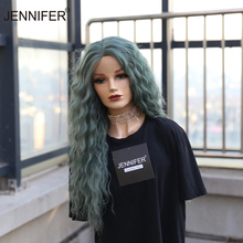 Synthetic wig Part Lace Green Brown Blond Color Long curly Hairstyle Wigs For Women  parting  High Temperature Fiber