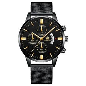 Image 3 - 남자 시계 SHAARMS 브랜드 럭셔리 날짜 캐주얼 남자 스테인레스 스틸 방수 망 쿼츠 손목 시계