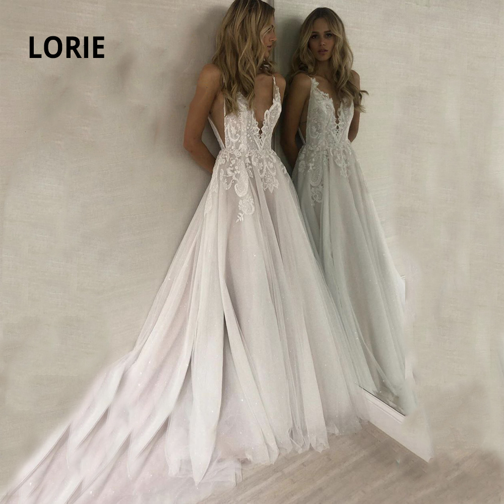 LORIE A-line Lace Wedding Dresses Turkey 2019 Spaghetti Strap V-neck Soft Tulle Skirts Boho Bridal Gowns With Sweep/ Brush Train