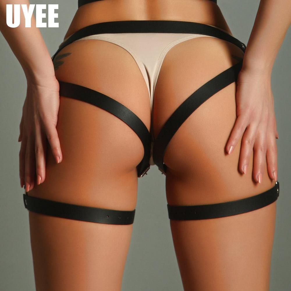 UYEE Garter Belts Women Leather Harness Sexy Vintage Harness Waist Garter Belt And Stockings Harness Leg Bondage Pentagram Dress