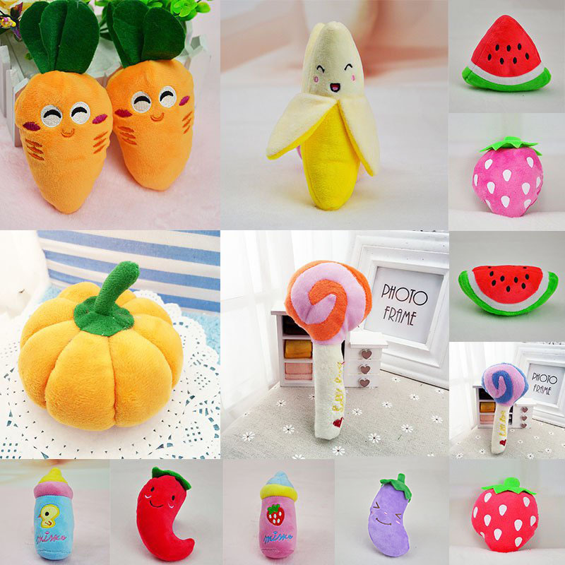 New <font><b>13</b></font> Designs Dog Toys Pet Puppy Chew Squeaker Squeaky Plush Sound Fruits Vegetables And Feeding Bottle Toys Gift image