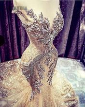 2K19 złote suknie balowe syrenka afrykańskie suknie wieczorowe Sheer Jewel z koralikami bez pleców skromna formalna sukienka na specjalną okazję tanie tanio Faiokaver O-neck Krótki Pociąg sweep Długość podłogi Prom dresses REGULAR Tulle Aplikacje Frezowanie Kryształ Koronki