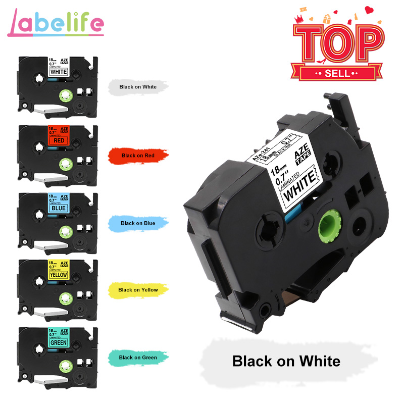 Labelife 1PC Tze-241 Tze641 Label Tape 18mm Black On White Tz241 Tze-141 Compatible For Brother P-Touch Label Printer PT-D600