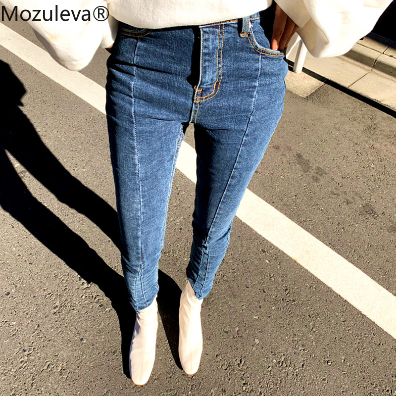 Mozuleva Spring Summer  Stretch Patchwork Denim Jeans Women Skinny Tassel High Waist Pants Capris Female Pencil Jeans 2019