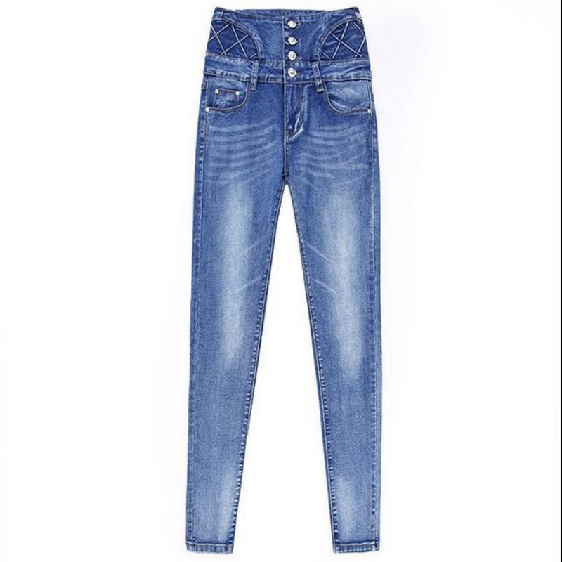 2020 Holiday Young Style Jean Solid Woman Sexy High Waist Woman Pants 1035