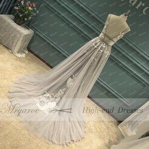 Image 4 - Mryarce vestido de novia gris con apliques florales de encaje, cuello en V, elegante, plateado, espalda descubierta
