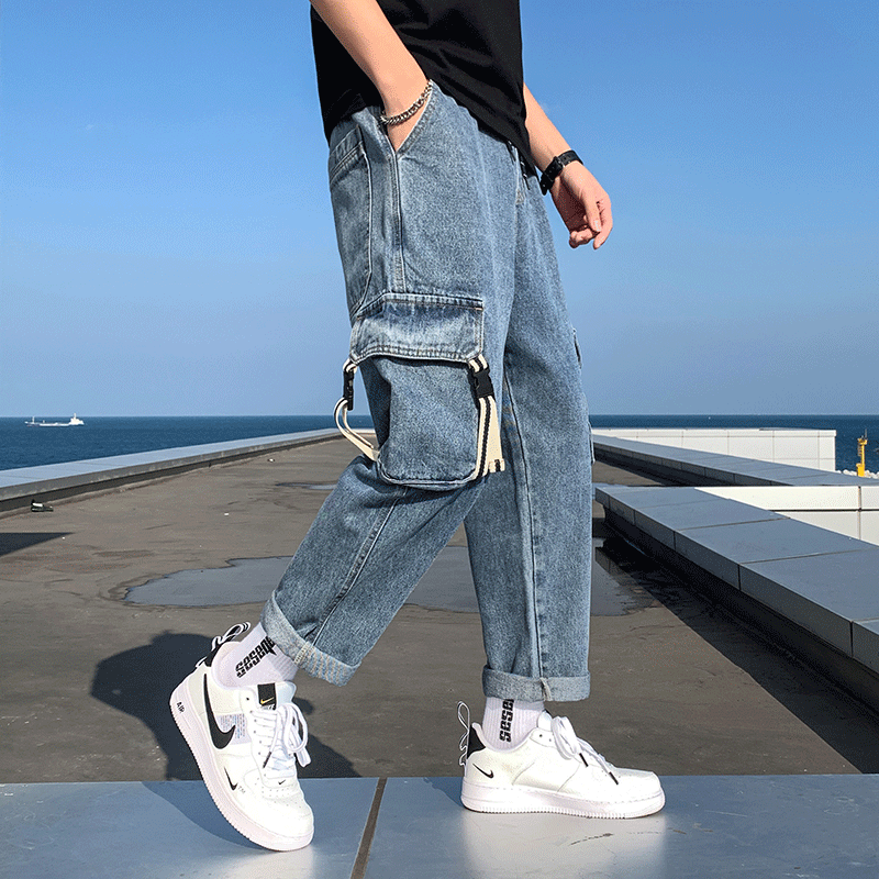 2020 Spring And Autumn New Youth Popular Men's Japanese Multi-pocket Jeans Fashion Casual Solid Color Overalls Blue M-5XL