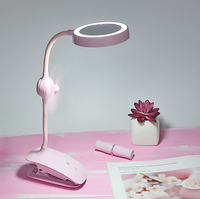 LED table lamp touch dimming USB charging desk lamp eye reading table lamp makeup mirror pen holder fan clip table lamp