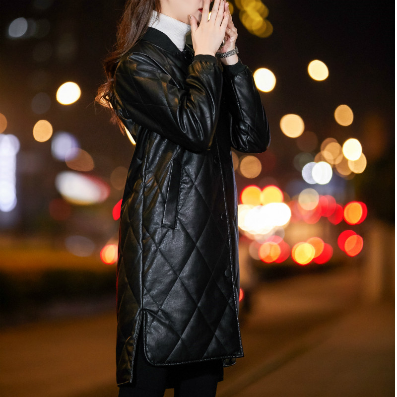 2020 Fashion Plus Size 4XL Womens PU Leather Jackets Spring Autumn Single Breasted Long Windbreaker Faux Leather Coat Women M83