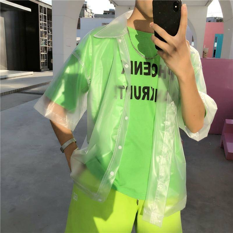 New Men Plastic Transparent Short-sleeved Shirt Men Clothes Waterproof Jacket Fashion Tide See Through Clear Pvc Chic Shirts