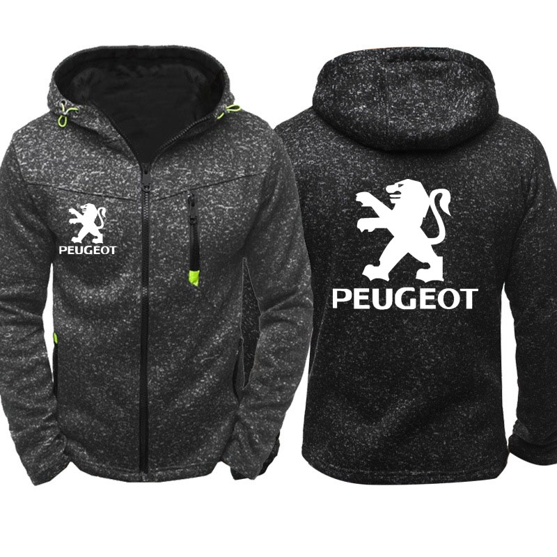 Hoodies Men Peugeot Car Logo Print Casual Hip Hop Harajuku Long Sleeve Hooded Sweatshirts Mens Zipper Jacket Man Hoody Clothing