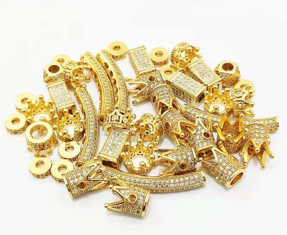 42 peças misturadas cz grânulo espaçadores para mulheres diy jóias acessórios s13