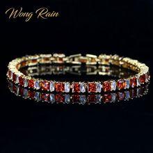 Wong Rain, винтажный, 925 из стерлингового серебра, рубиновое, аметист, драгоценный камень, браслет, шарм, коктейль, желтое золото, браслеты, хорошее ювелирное изделие