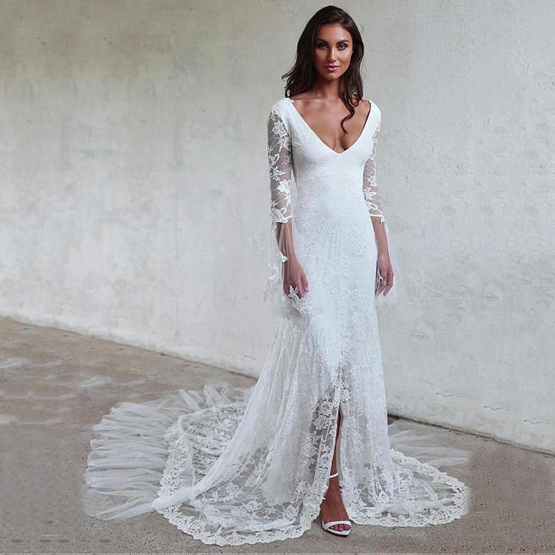 Boho Beach White Lace Mermaid Wedding Dress 2020 Sexy V-neck Lace Appliques Vestidos De Novia Bridal Gowns Custom Made