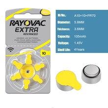 Baterias do aparelho auditivo 6 pces/1 cartão rayovac EXTRA-A10/pr70/pr536 ar do zinco batterie 1.45 v tamanho 10 diâmetro 5.8mm espessura 3.6mm