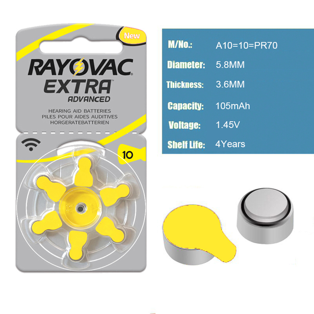 Hearing Aid Batteries 6 PCS / 1 card RAYOVAC EXTRA A10/PR70/PR536 Zinc Air batterie 1.45V Size 10 Diameter 5.8mm Thickness 3.6mm