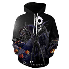 Halloween Harajuku 3D printing the night before Christmas Jacks Kelinton hoe Long-sleeved sweatshirt with hat hoodie