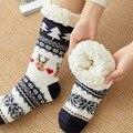 Осенне-зимние женские тапочки, домашние носки, носки с рождественским рисунком оленя, носки для пола, плюшевые бархатные Нескользящие возду...