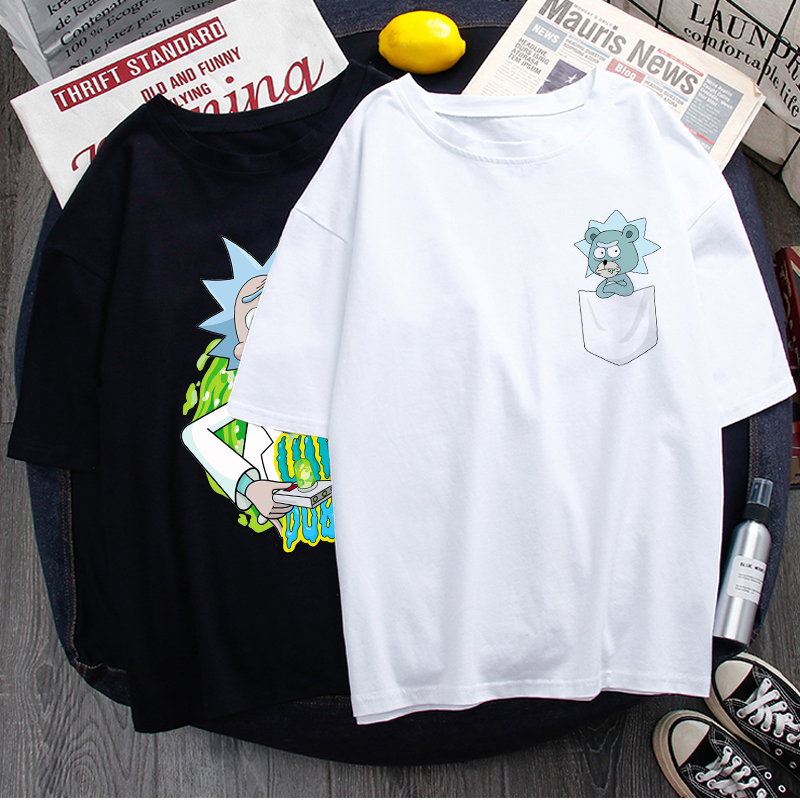 Rick And Morty Funny Cartoon T Shirt Men Ricky N Morty Harajuku Unisex T-shirt Graphic Anime Summer Tshirt Hip Hop Top Tees Male