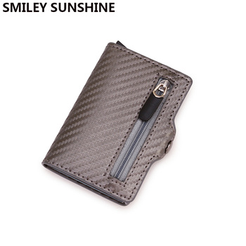 Carbon Fiber Rfid Card Holder Wallets Men Zipper Coin Money Bag Male Thin Mini Slim Magic Wallet Small Money Bag Wolet for man with coin bag zipper new men wallets mens wallet small money purses wallets new design dollar price top men thin wallet 125 1