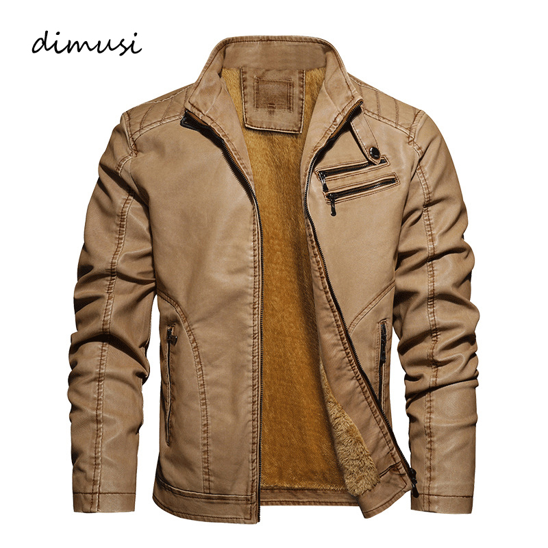 DIMUSI Winter Men's PU Jacket Leather Coats Mens Warm Slim Fit Faux Leather Motorcycle Jackets Male Biker Coats Brand Clothing