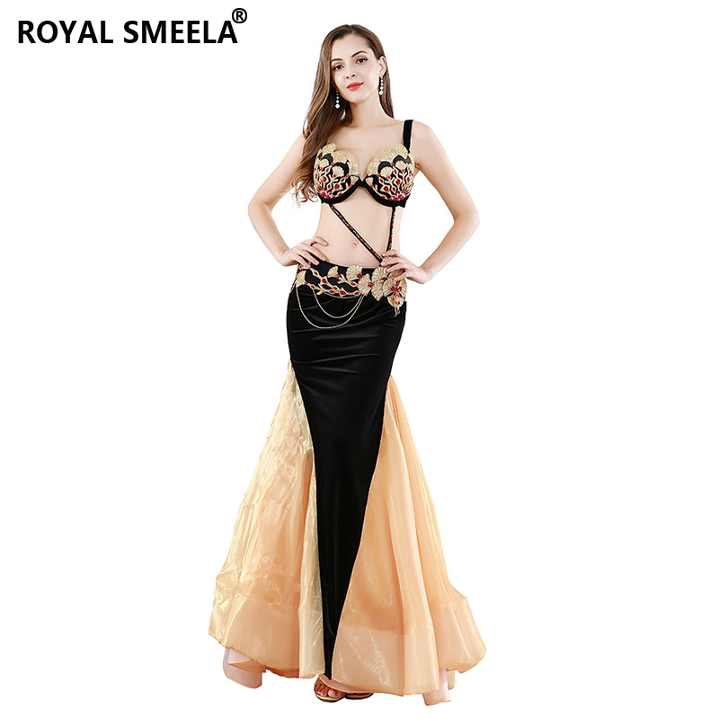 Women's gorgeous belly dance costume set new sexy belly dancing outfits bra belt +belly dance mermaid skirt 3pcs dance clothes