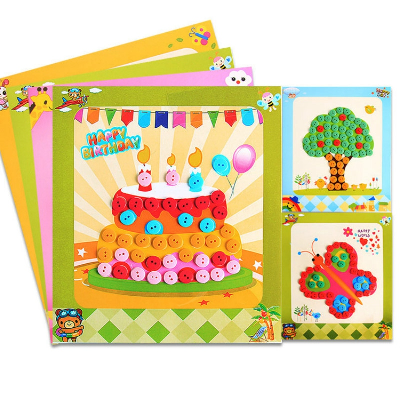 Button Stickers Children'S Handmade Button Stickers Kindergarten Manual Creative Diy Kit