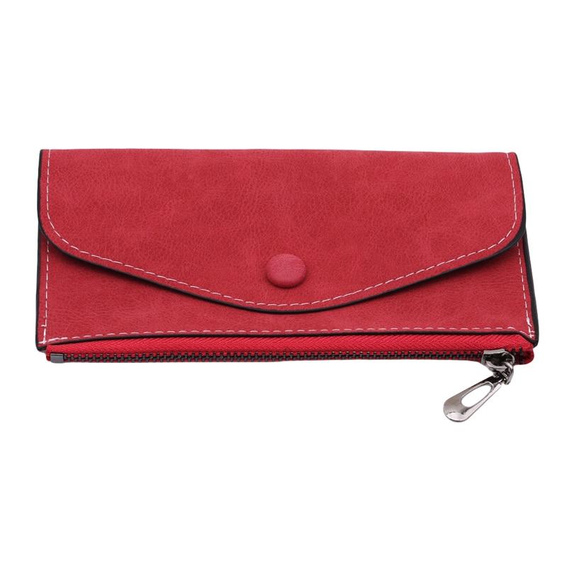 2020 matte leather women's wallet fashion card holder phone pocket zipper bag vintage female wallet purse long women wallet
