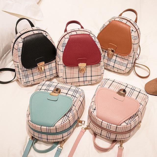 Mini Backpack Crossbody Bag For Teenage Girl Plaid Women Shoulder Phone Purse Korean Style New Trendy Female 2021 3