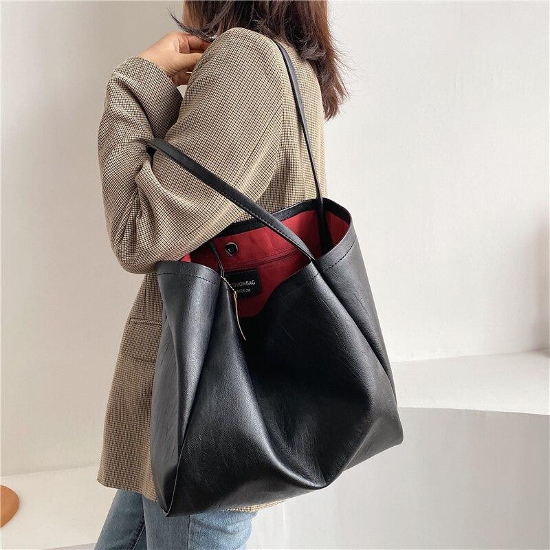 Burminsa Women Casual Big Soft Handbags Female Large Capacity Laptop Tote High Quality Shopper Shoulder Bag Black White 2020 NEW