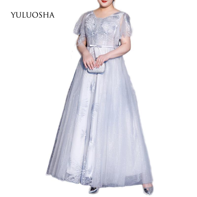YULUOSHA Mother of The Bride Dresses A-Line Lace Appliques Elegant Dresses for Women Gray Dress for Party Vestido Mae Da Noiva