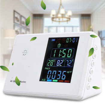 Humidity Air Quality Monitor Temperature Home Formaldehyde Particles Alarm USB Port Accurate LCD Display For CO2 PM2.5 Standing