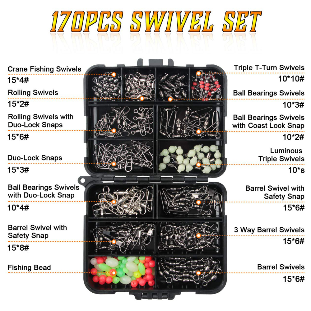 170Pcs Box Fishing Swivels Kit With Ball Bearing Swivel Rolling Barrel Swivel Duo Lock Snap Fishing Line Connector For Bass in Fishing Tools from Sports Entertainment