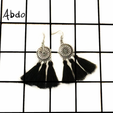 Abdo New Fringe Blue Red White Tassel Earrings Sunflower Ladies  Bohemian Style Geometric Personality Party Fashion Jewelry Gift