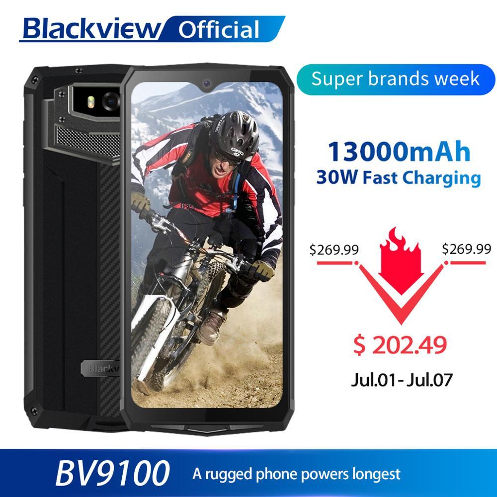 Blackview bv9100 ip68 impermeável celular 13000mah 30w rápido carregamento 4g celular mtk6765 4gb + 64gb 16.0mp áspero smartphone