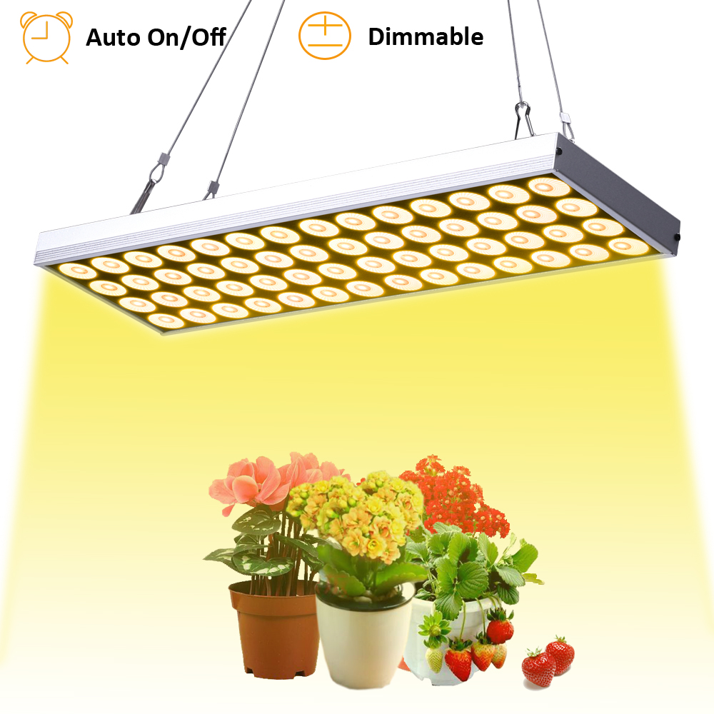 JCBritw LED Grow Light Dimmable Auto On/Off Timer Plant Growing Lamps For Indoor Plants 60W Full Spectrum White 3500K Hanging