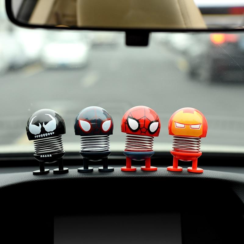 Car Ornaments Shaking Head Toys Bobblehead Nod Dolls Car Dashboard Automotive Internal Decoration For Marvel Car Accessories