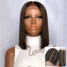 Bob corto rectos para mujer, 2x6, pelucas de cabello humano con encaje frontal, negro Natural, Remy, brasileño, nudos blanqueados, línea de cabello 180%
