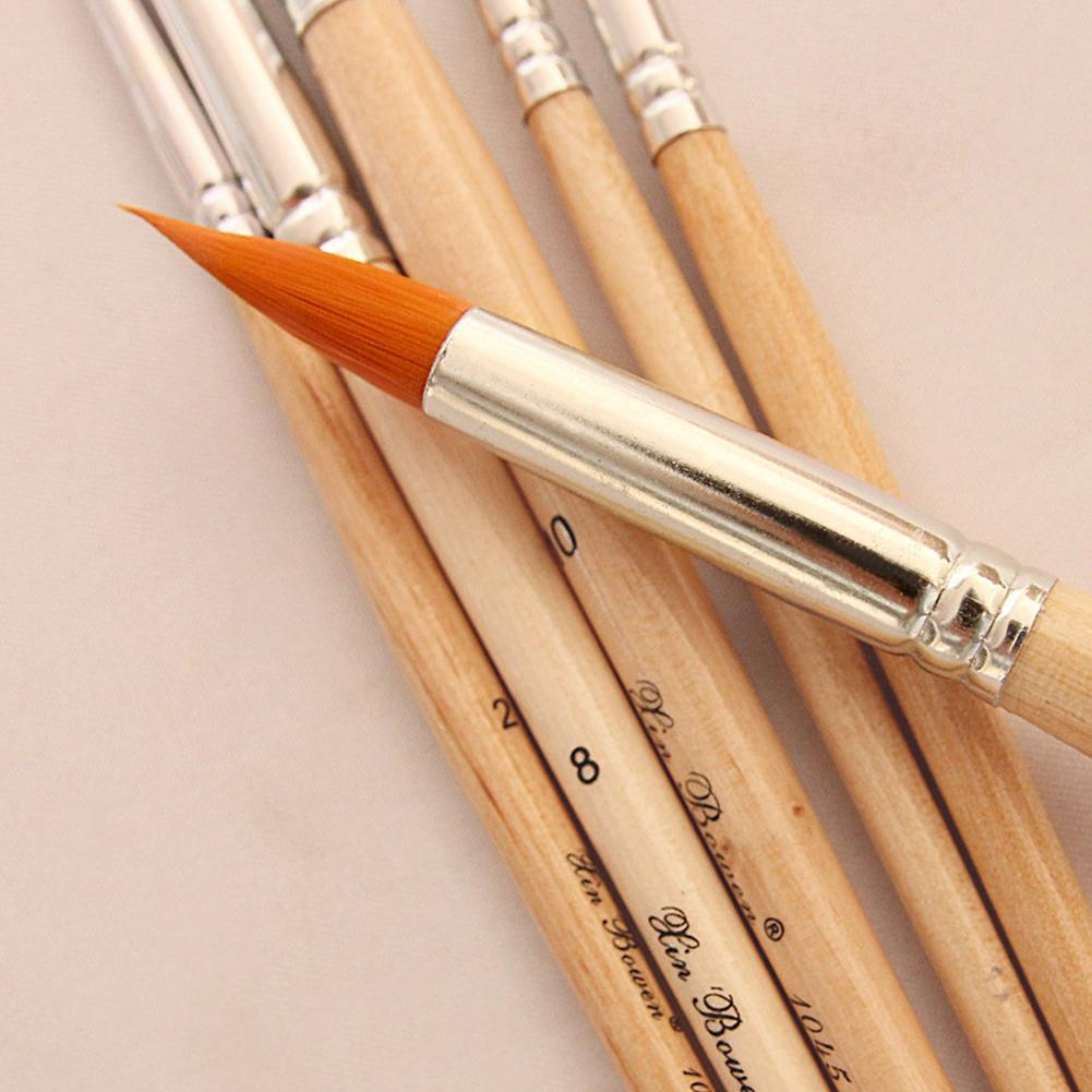 Promote~6pcs/set Oil Paint Brush Different Size Nylon Hair Brushes for Colorful Water Painting Art Paint Tool