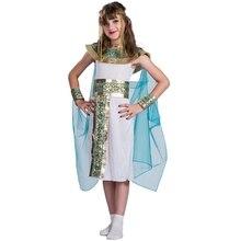 Disfraz de Halloween de Cleopatra azul para niños, Cosplay de Halloween con la espalda en el egipcio como la famosa reina, juego de rol histórico