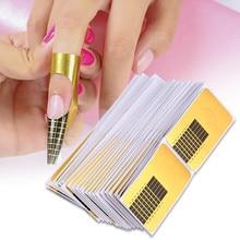 100 adet profesyonel tırnak formları akrilik eğrisi oje jel koruyucu uzatma Nail Art aksesuarları kılavuz Form araçları