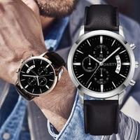 2021 Relogio Masculino Uhren Männer Mode Sport Edelstahl Fall Leder Band Uhr Quarz Business Armbanduhr Reloj Hombre