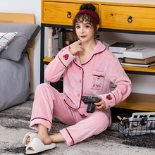 2019 new coral velvet pajamas ladies cardigan strawberry long-sleeved home service suit sleepwear S109 все цены