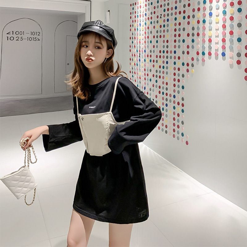 2019 Autumn New Style Korean-style Loose-Fit Lettered Mid-length Long Sleeve T-shirt Dress + Zipper Pu Camisole Two-Piece Set F7