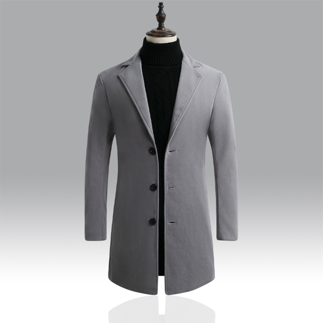 Autumn Winter Mens Brand Fleece blends Jacket Male Overcoat Casual Solid Slim collar coats Long cotton trench coat Streetwear 4